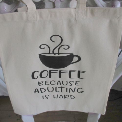 Funny Canvas  'COFFEE Because Adulting'  Tote Shopper